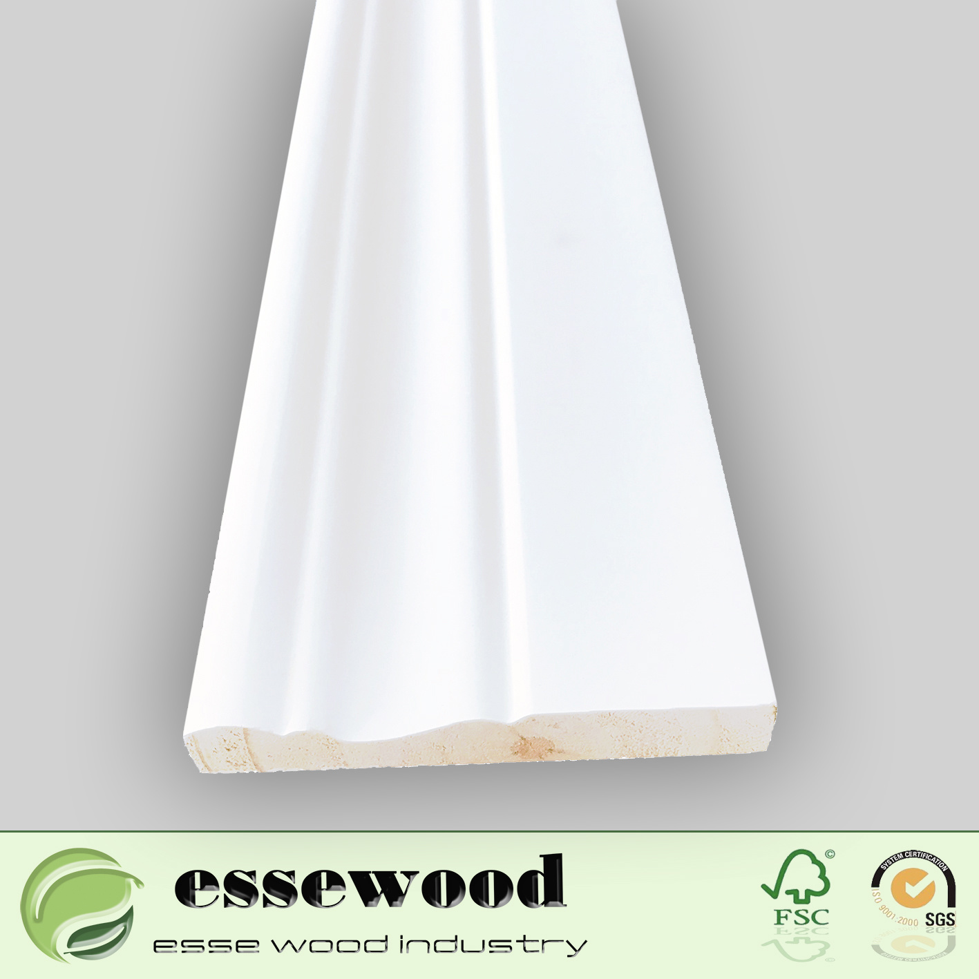 Primed Wood Trim Wall Skirting Board Floor Moulding For Laminate Flooring