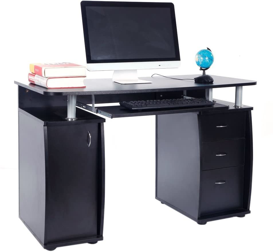 [Hot Item] Computer Desk with Drawers/Cabinet/Pull-out Keyboard Tray Modern  Study Writing Table Black Wood Top Workstation