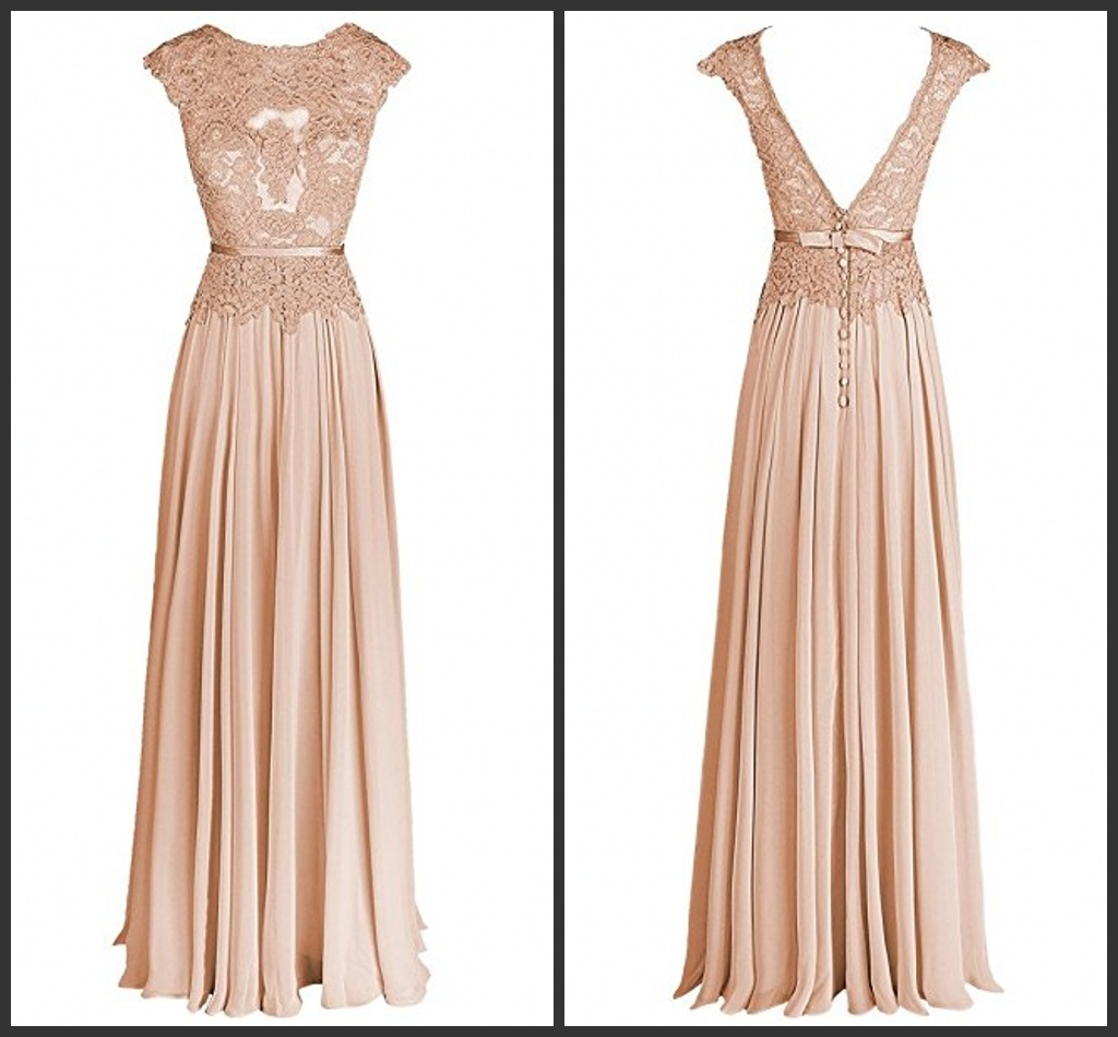 China A-Line Prom Gown Sleeveless Lace Nude Beigie Wedding Evening ...