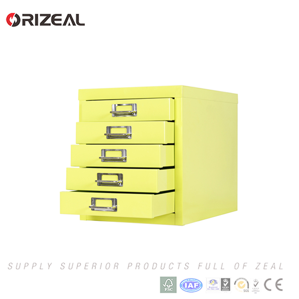 China Orizeal 5 Tier Yellow Storage Cabinet Metal Drawings Filing