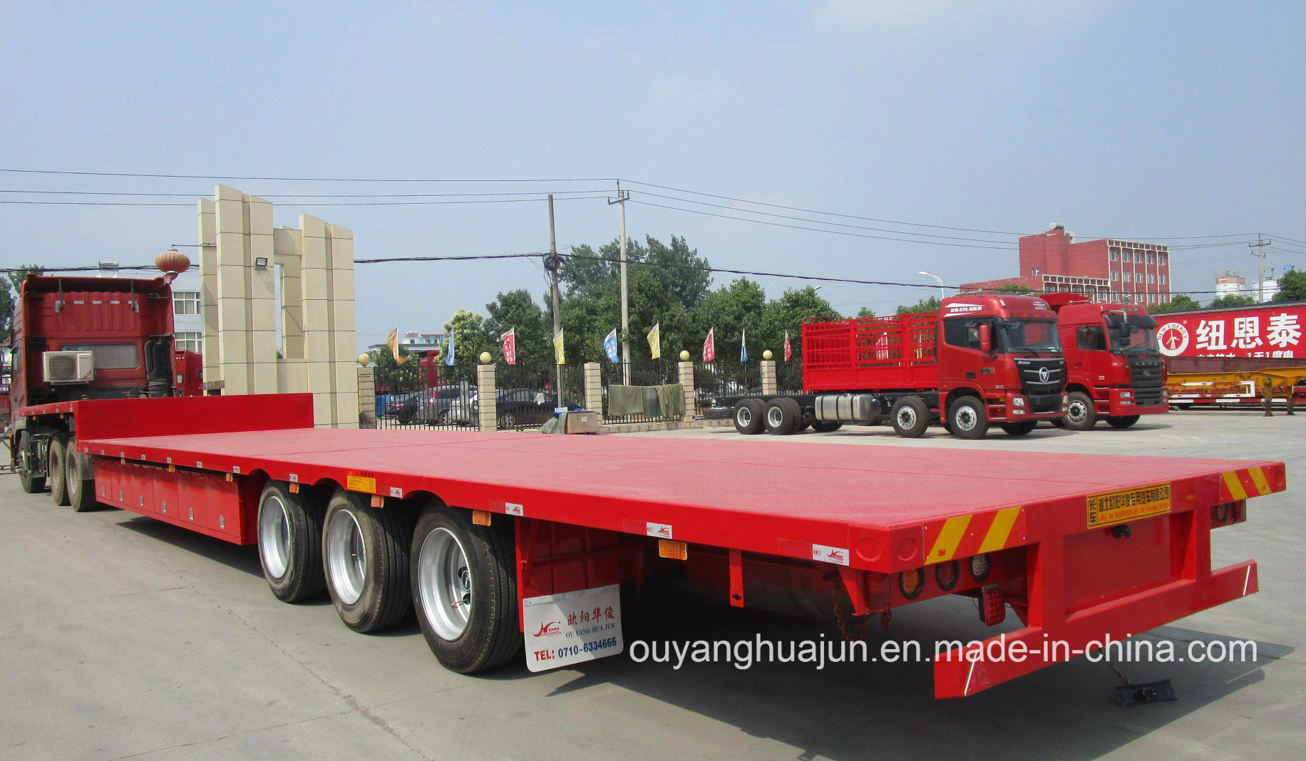 12 Meters 33.2 T 3 Axles Flatbed Simitrailer