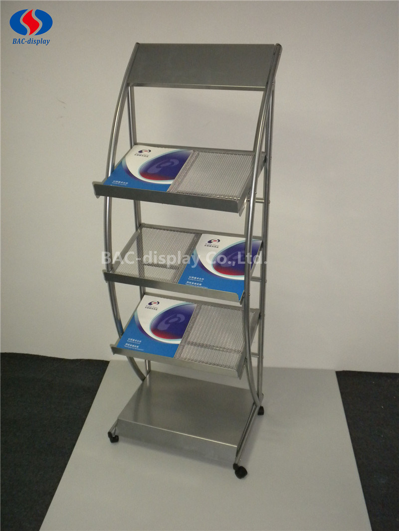 OEM Movable Metal Magazine Display Rack with 4 Wheels pictures & photos