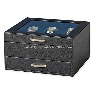 Black Watch Display Case with Jewelry Box Watch Storage Box