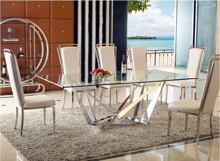 Hot Item 2018 European New Style Modern Metal Glass Dining Table Set And Pool Chair Fabric