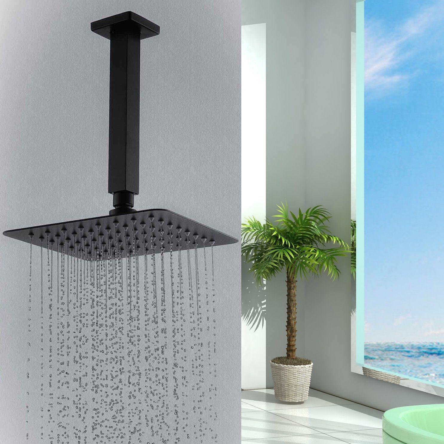 Hot Item Matte Black Square 200mm Overhead Rain Shower Head