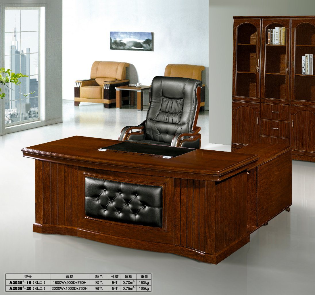 Hot Item Classic Wooden China Office Furniture L Shape Front Office Desk Design With Side Cabinet With Drawer Wooden Office Table Design Feca2038