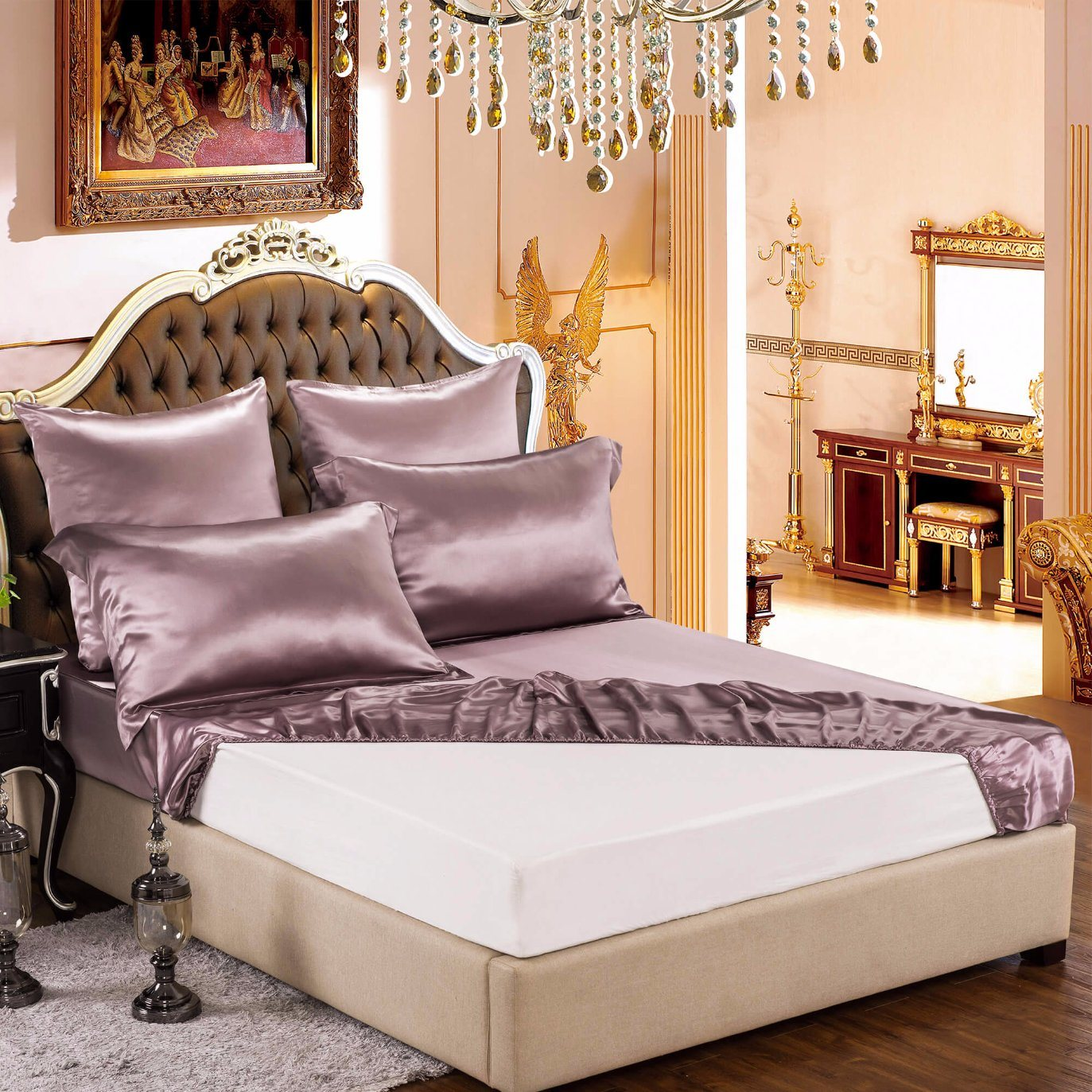 handmade brand momme bedding luxuer products brown silk bed cover sheet set duvet collections pieces chocolate