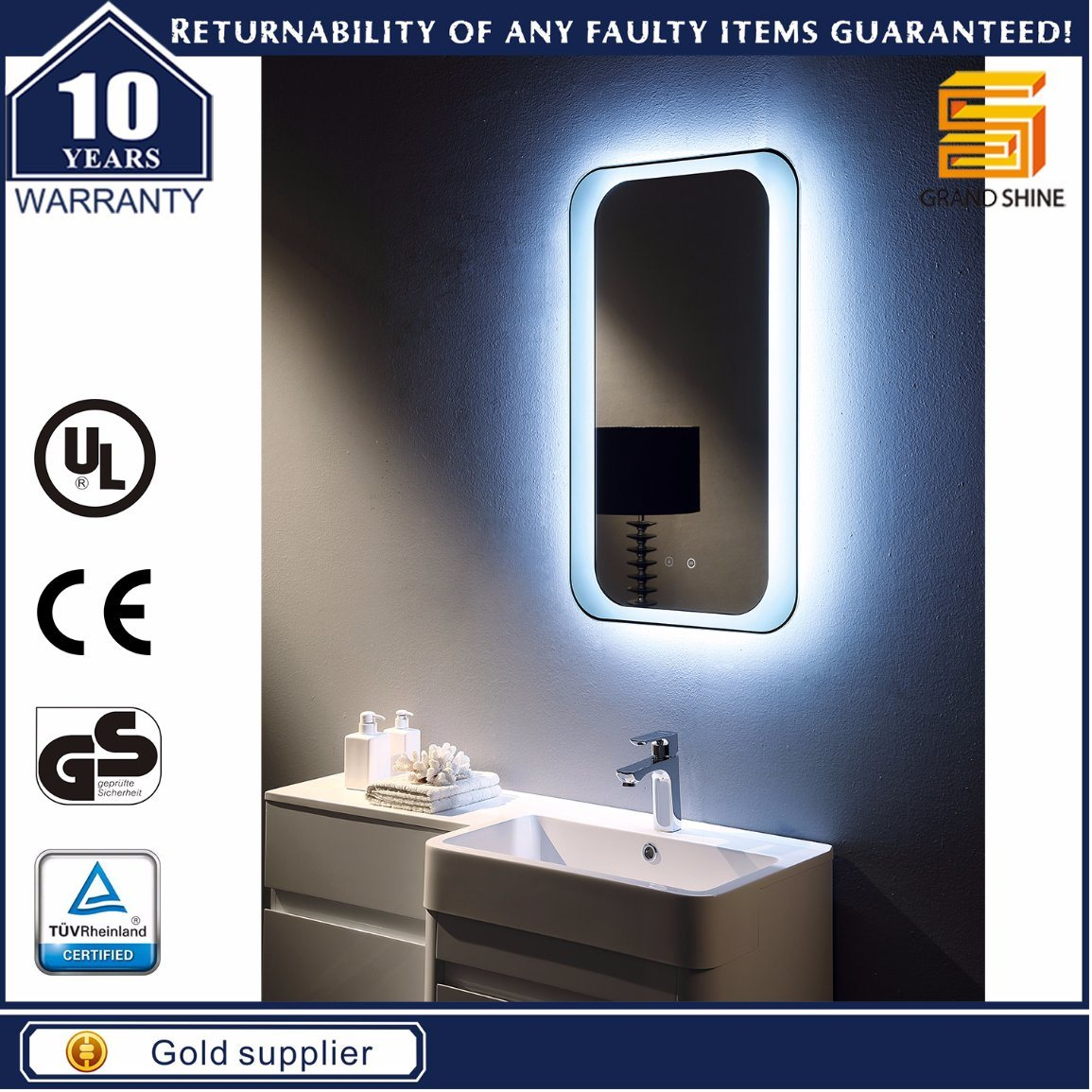 bathroom mirror defogger china ul approved aluminum frame led backlit illuminated 11020