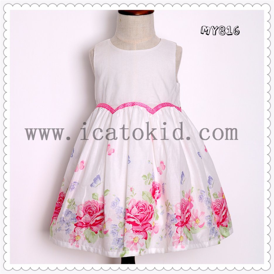 939f569e35a9f [Hot Item] 2016 Wholesale Baby Girls Dresses Floral Printing Summer  Children Designers Cotton Dresses