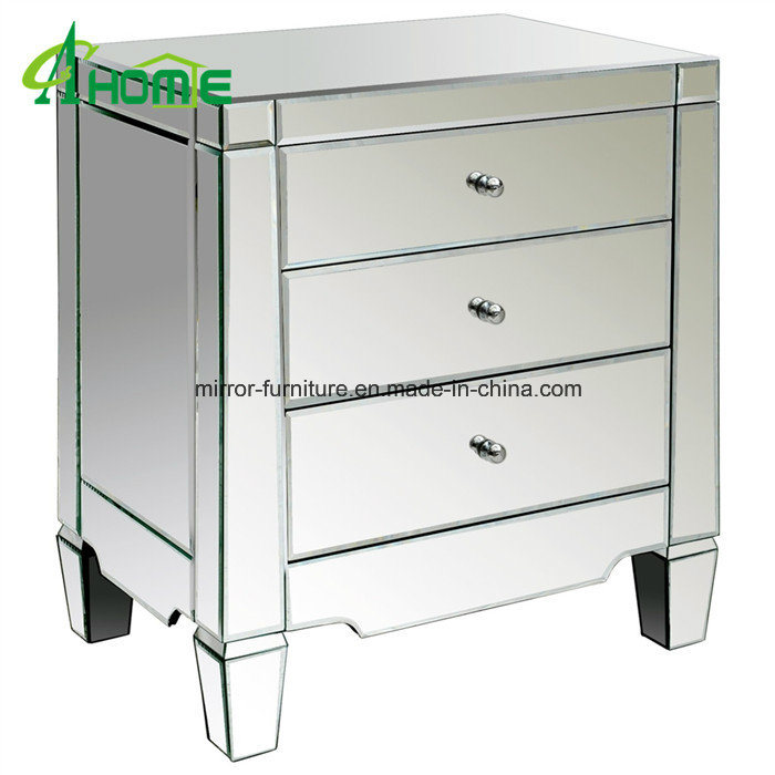 China Mirrored 3 Drawer Chest Bedside Table Nightstand
