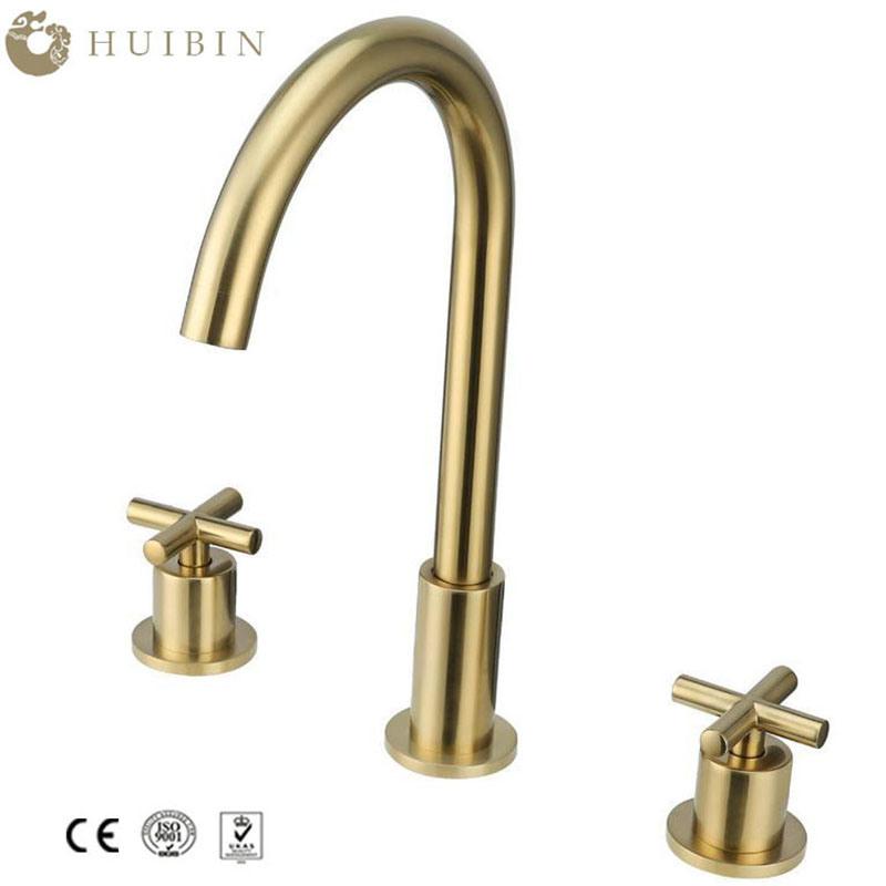 Luxury Gold Bathroom Basin Sink Faucet Dual Cross Handles Mixer Tap Deck Mounted