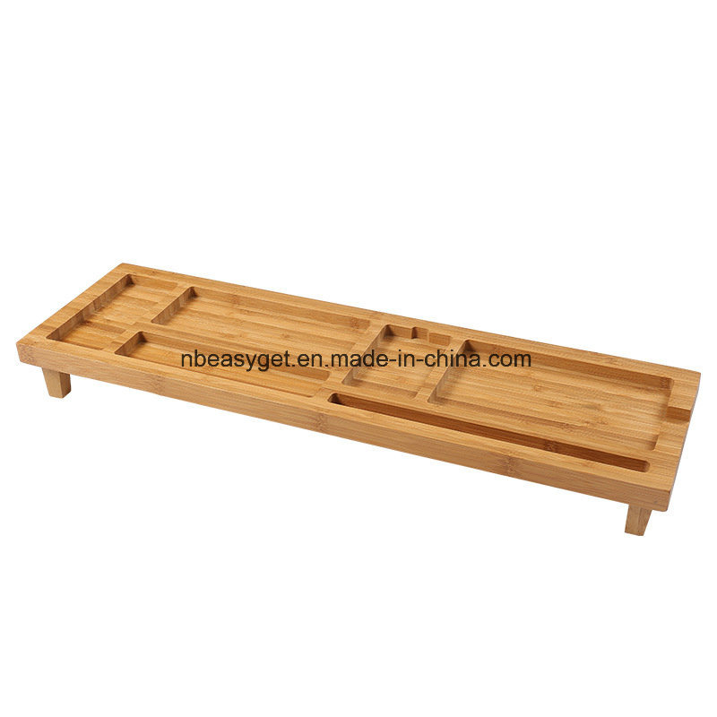 China Bamboo Monitor Stand Riser With Storage Organizer Laptop Cellphone Tv Printer Desktop Container Esg10219