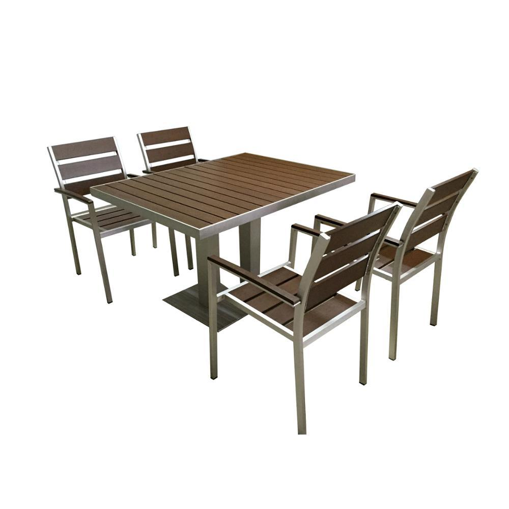 Hot Item Garden Furniture Plastic Wood Dining Table And Chair Set
