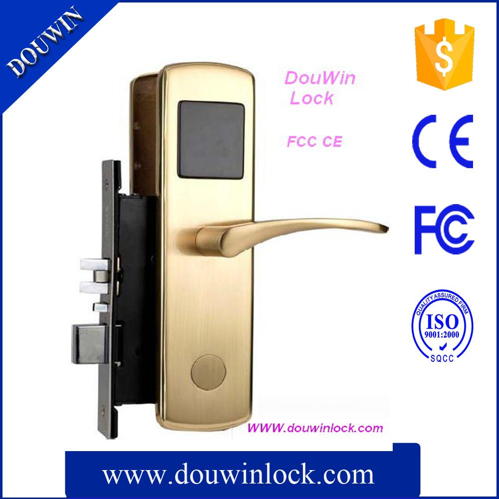 hotel door lock types. China Douwin Hotel Door Lock Brushed Brass MIFARE Card Type - Key Lock, System Types P