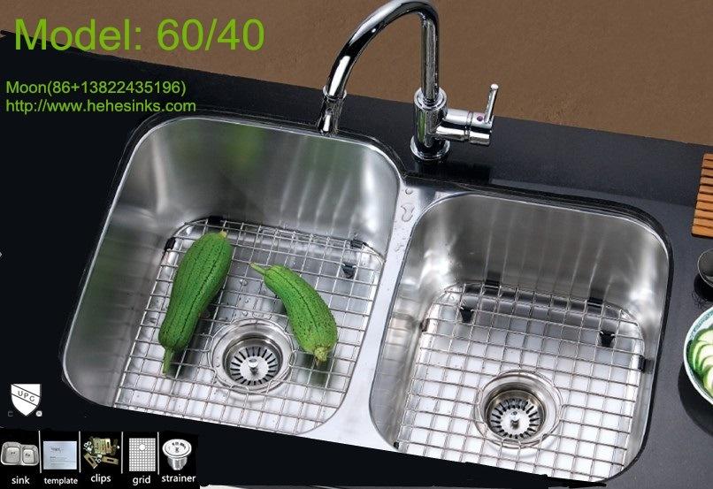 60/40 Undermount Double Bowl Stainless Steel Sink, Kitchen Wash Basin,  Handmade Sink