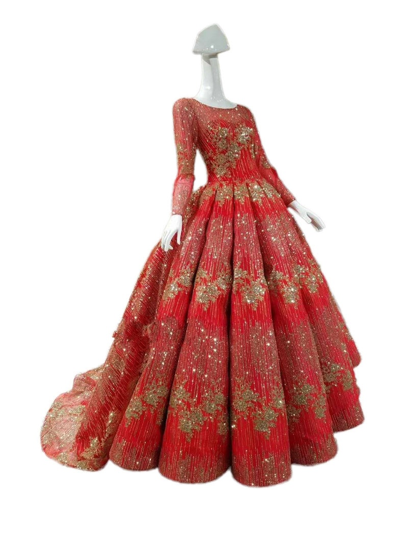 China Long Sleeves Bridal Gowns Glitter Lace Puffy Gold Red Silver Wedding Dresses Z2017 Photos Pictures Made In China Com,Stylish Beautiful Dresses To Wear To A Wedding As A Guest