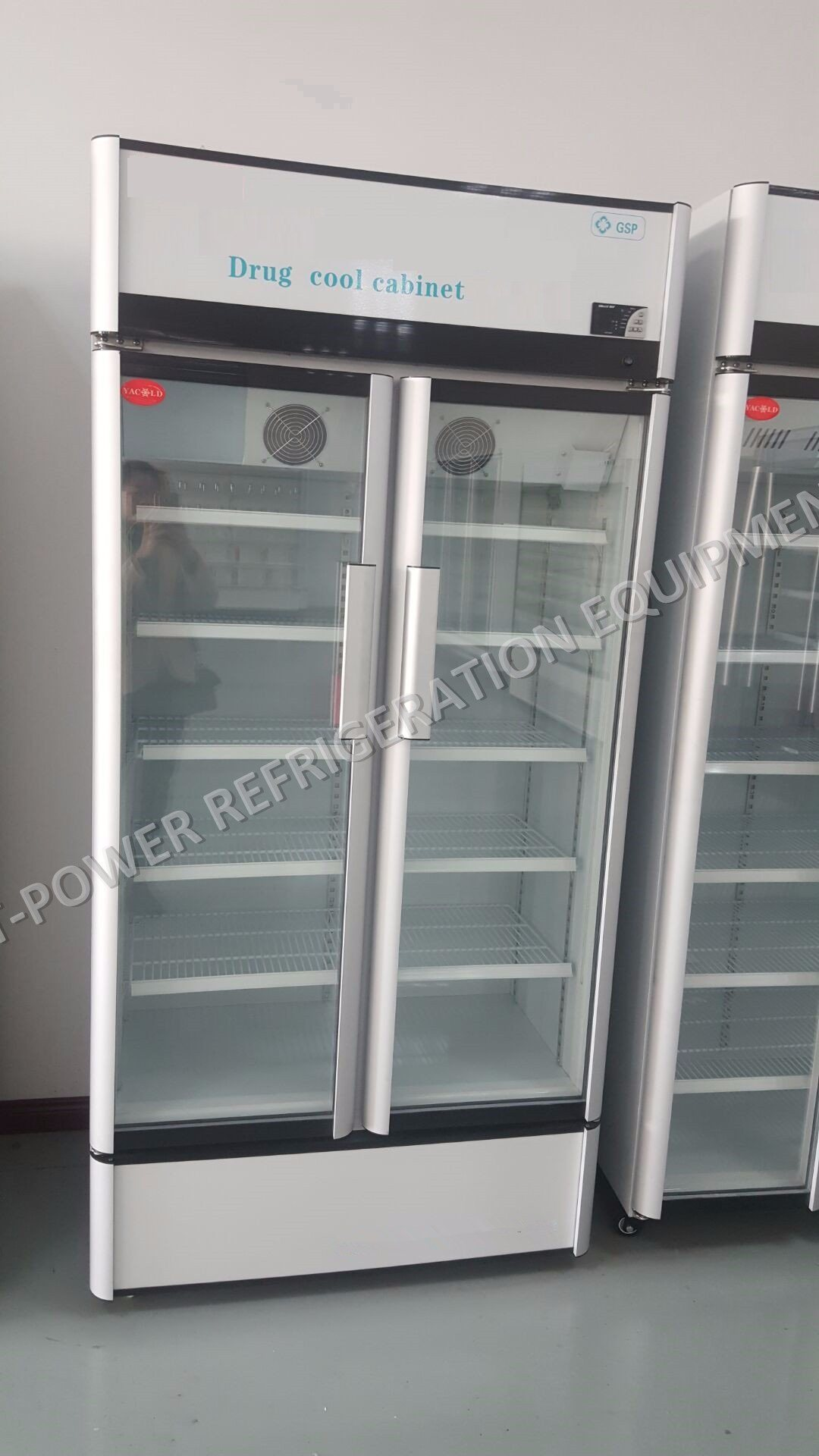China Double Glass Door Medical Display Refrigerator China Drug