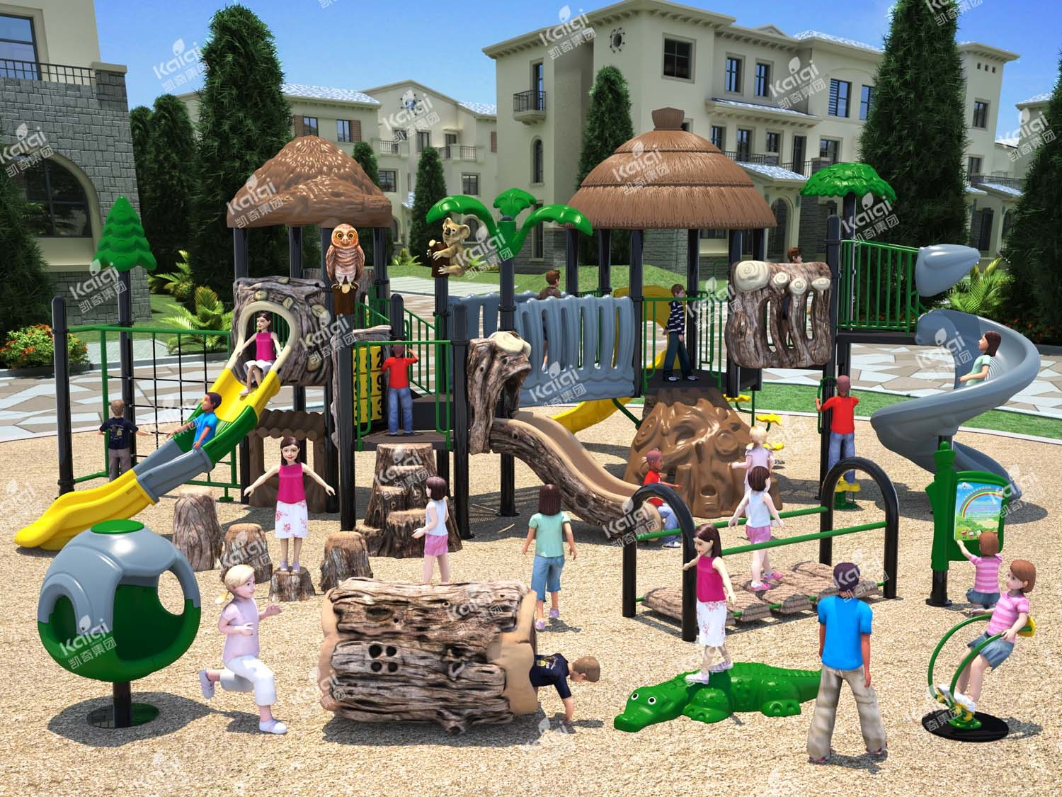 (Featured!) Kaiqi Wood Themed Children′s Adventure Playground (KQ50012A)