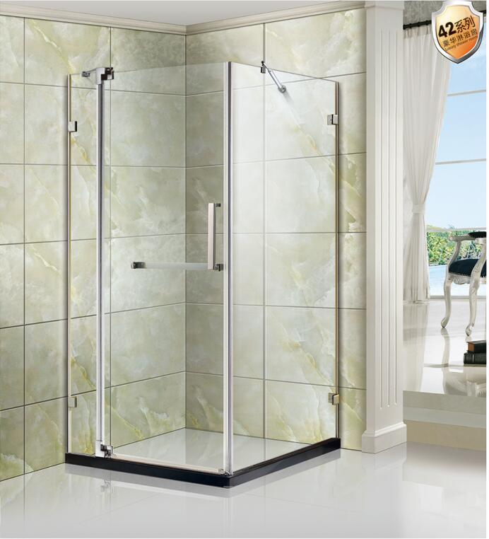 China Stainless Steel Frameless Tempered Glass Square Shower Door