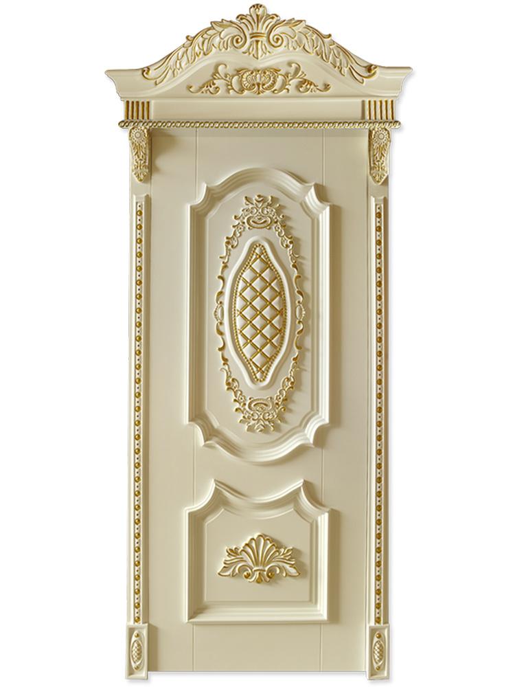 Hot Item Luxurious Villa Solid Teak Wood Hand Carved Bedroom Door With Architrave Door Frame