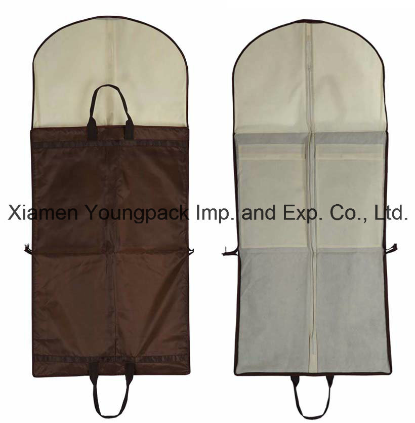 Wholesale Promotional Packing Bag Custom Printed Black PEVA and Non-Woven Fabric Cloth Cover Packaging Dust Bag Travel Suit Carrier Garment Bags pictures & photos