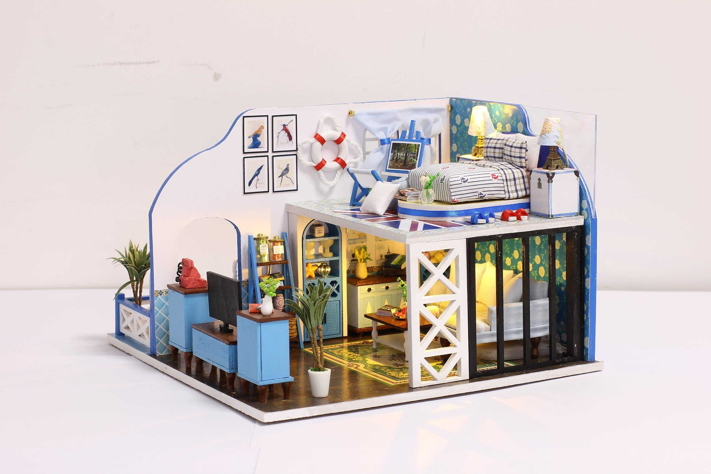China Wooden Miniature Dollhouse Romantic Full House Diy Old