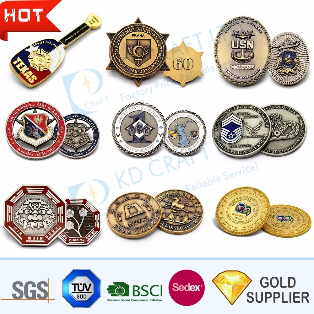 Manufacturer Custom 3D Logo Zinc Alloy Souvenir Gold Metal Challenge Coin Silver Antique Military Navy Diamond Edge Commemorative Coins for Promotional Gift