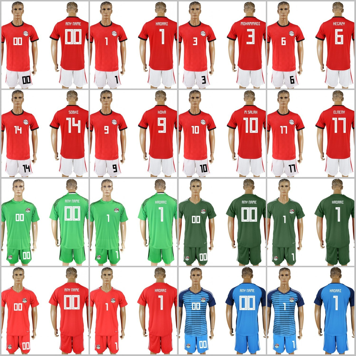 China 2018 World Cup Egypt National Customized Soccer Jerseys Photos