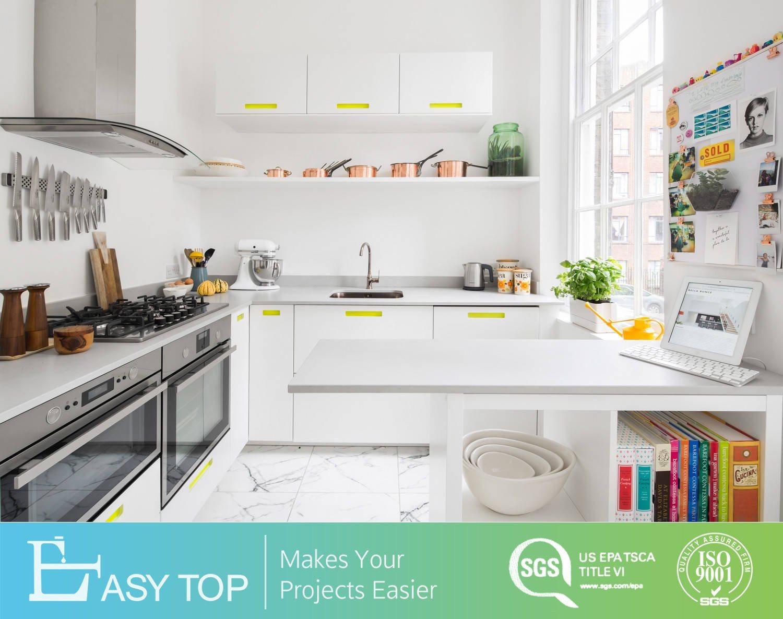 Hot Item Flat Apartment Contemporary Small U Shaped Design White Melamine Kitchen Cabinet Door