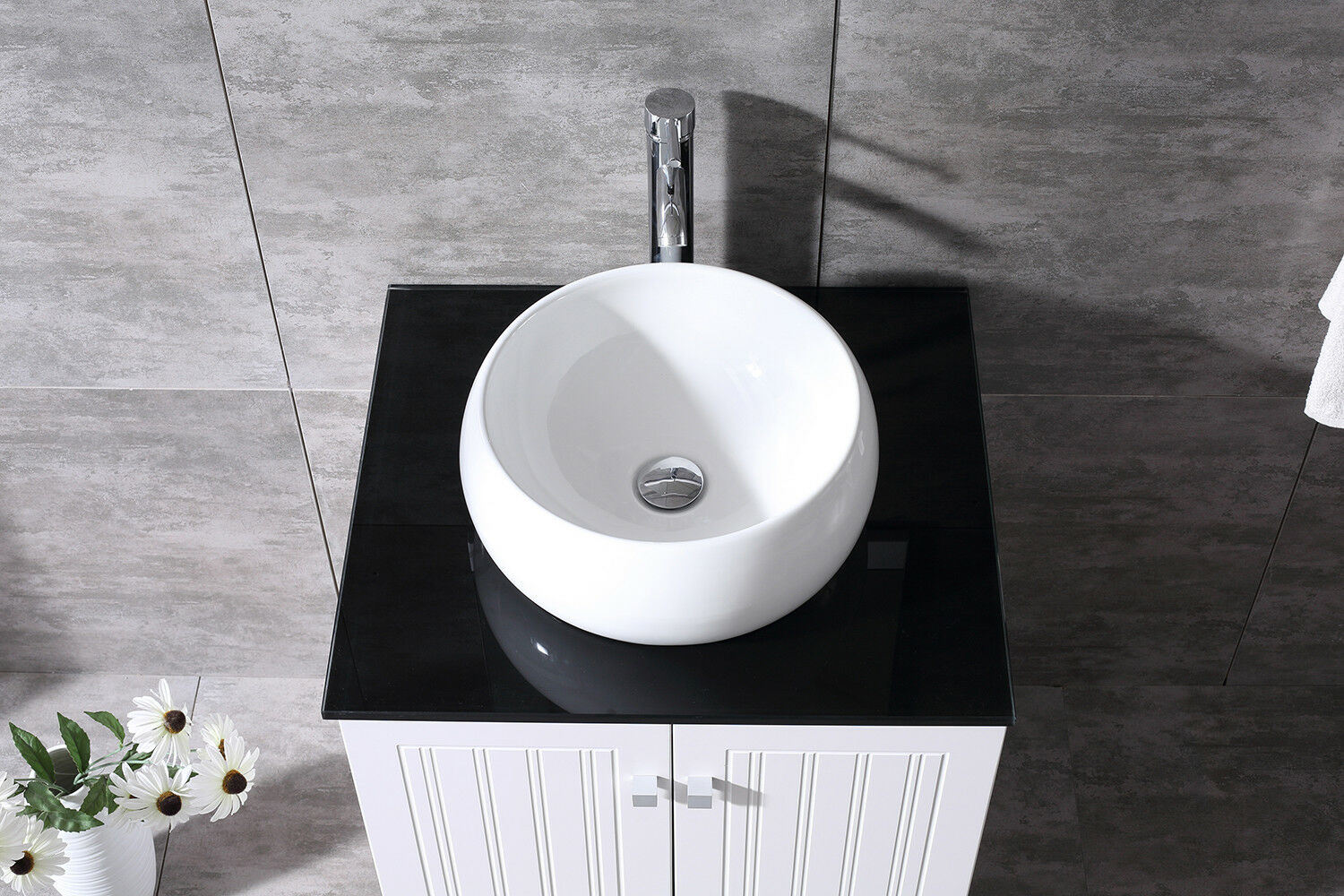 China Bathroom Vanity Pvc Cabinet 24inch Round Ceramic Vessel Sink Bowl W Mirror Set Photos Pictures Made In China Com