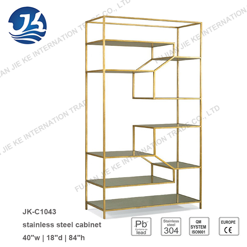 China Gold Metal Display Shelf Decorative Etagere Partition for ...