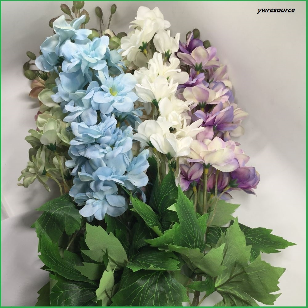China Silk Artificial Flowers Fake Delphinium For Home Decoration
