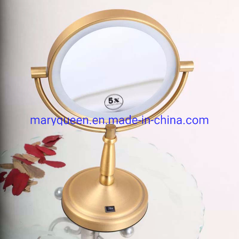 Luxury Gold Dual Sided Lighted Vanity, Luxury Makeup Mirror With Lights