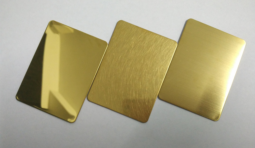 China 304 Hairline Gold Color Stainless Steel Plate For