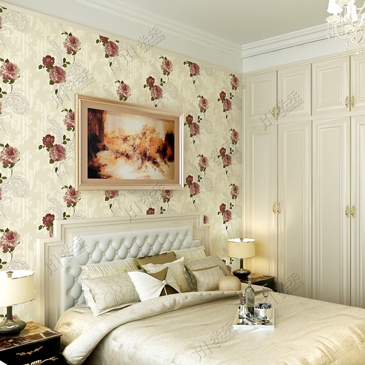 Interior Wall Decoration Wall Coating Bedroom PVC Flower Design Wallpaper