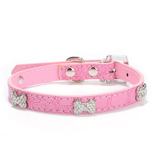 Design Faux Snakeskin Bones PU Leather Pet Collars&Leashes