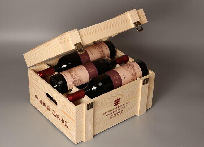 Hot Item Six Bottle Wooden Wine Box Wine Gift Box Package