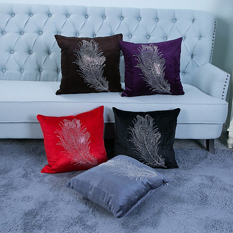 Diamond Ironing Decorative Cushion/Pillow with Feather Pattern (MX-028)