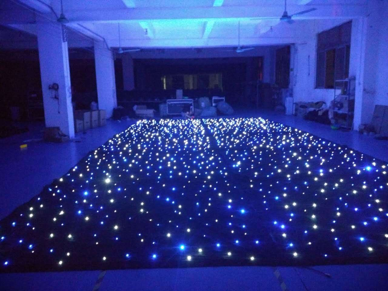 China 4m Height X8m Width Led Star Curtain With White And Blue Lights Stage Light Drapery
