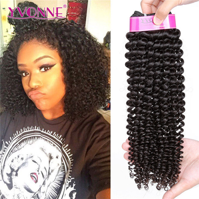 China Yvonne Natural Color Virgin Brazilian Kinky Curly Hair Weave