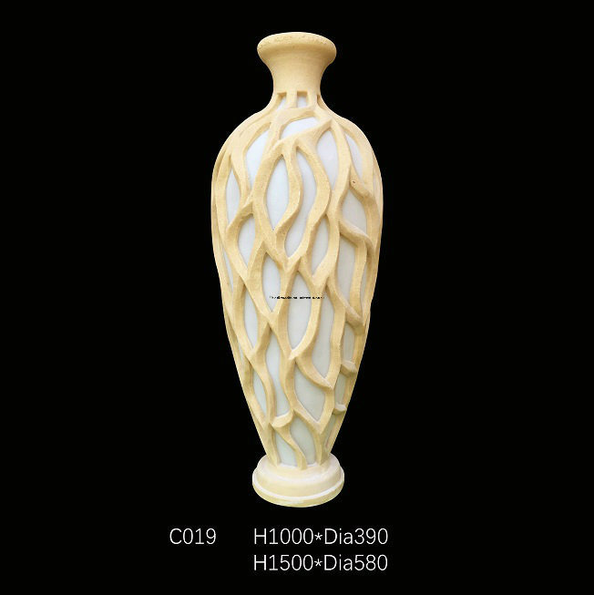 China Vase Style Sandstone Resin Led Light Sculpture For Home Or