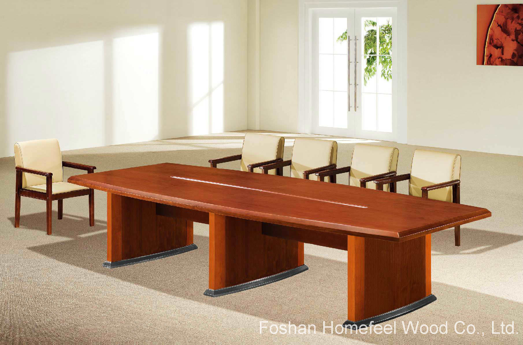 China Horse Belly Oblong Shape Wooden Conference Meeting Table HF - Oblong conference table