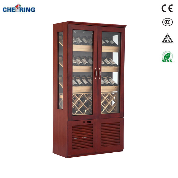 China Cheering Ce Approved Two Door Mahogany Wine Cooler Twoc2