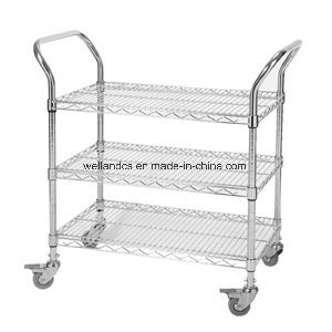 3 Tiers Chrome Commercial Metal Utility Trolley (CJ A1195)