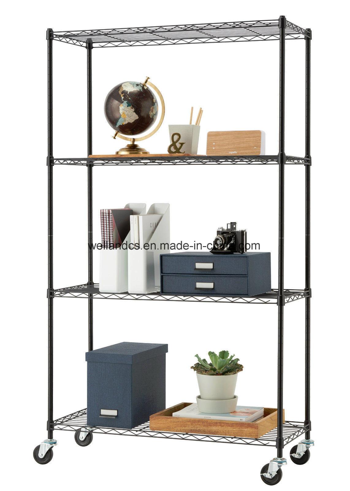 Hot Item Nsf 5 Tier Light Dty Decorative Wire Storage Rack Adjule Home Office Metal Shelf Display
