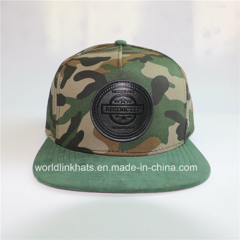 China Custom Camo Flat Bill Hip Hop Snapback Baseball Hat  Cap with Leather  Patch - China Snapback Cap d241ab10a60