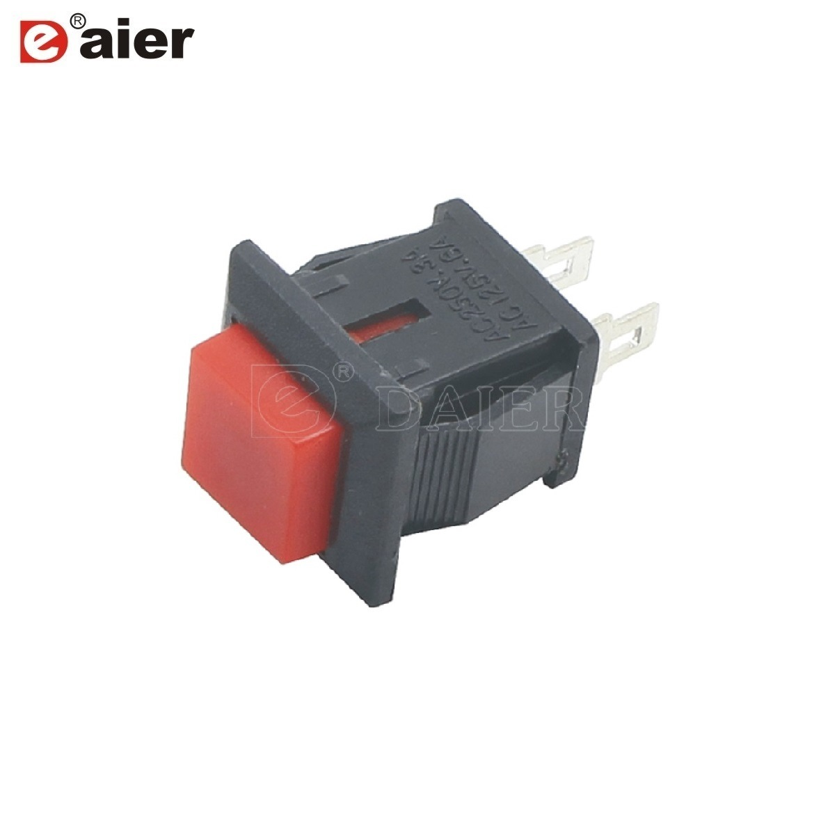China 3a 250vac 2pin Momentary Square Plastic Push Button Switch Switches Large 10mm Latching Red