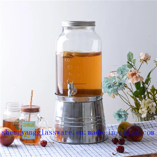 China Glass Juice Jar Water Storage Jar Glass Drink Dispenser with