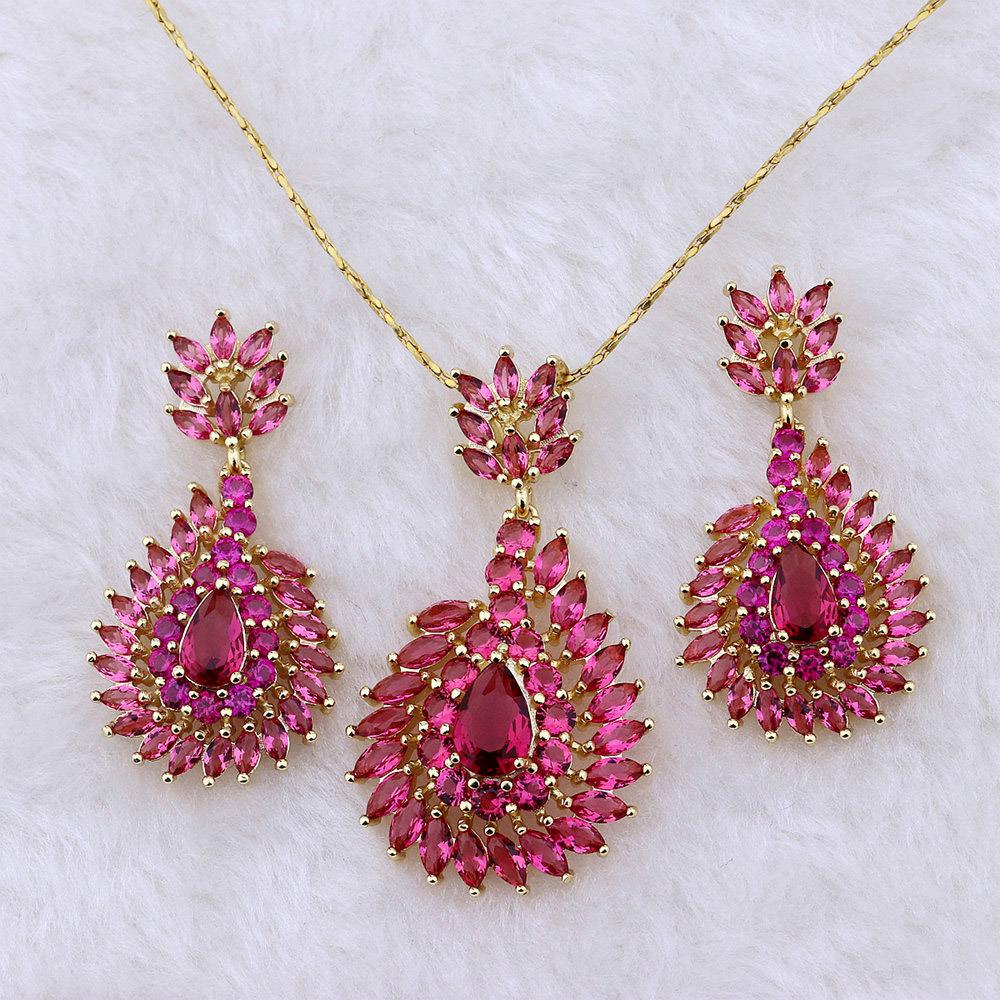 China Pure Gold Plated Women Accessories Ruby Jewelry Set China