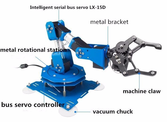 China Hot Selling 6dof Full Metal Robotic Arm with Free PC